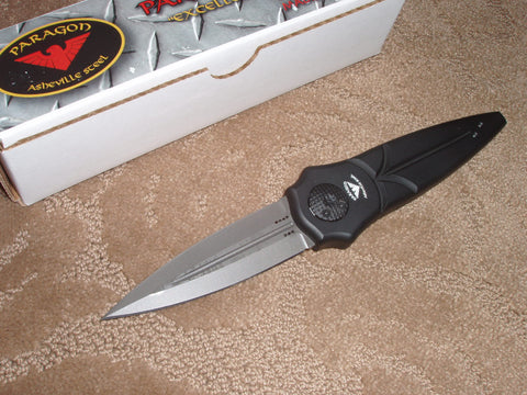 Paragon Knives / Asheville Steel - Warlock Knife, Black Handle, Bead Blast, Dagger Blade