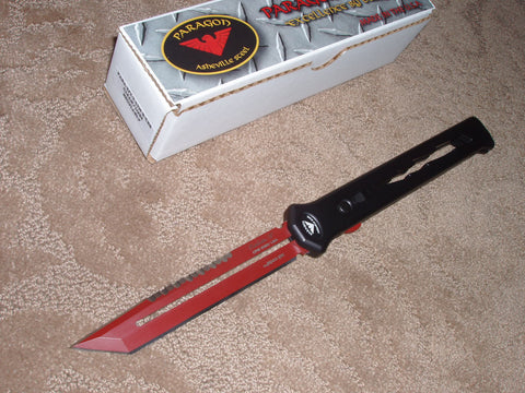 Paragon Knives / Asheville Steel - Estilleto, Blood Line, Black Lightning Handle, Cerakote Red Blade, OTF Knife  PAR-EST-T-LTN-BCRB