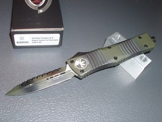 Microtech Combat Troodon D/E, Full Serrated, Green Camo, OTF Knife   142-3GC