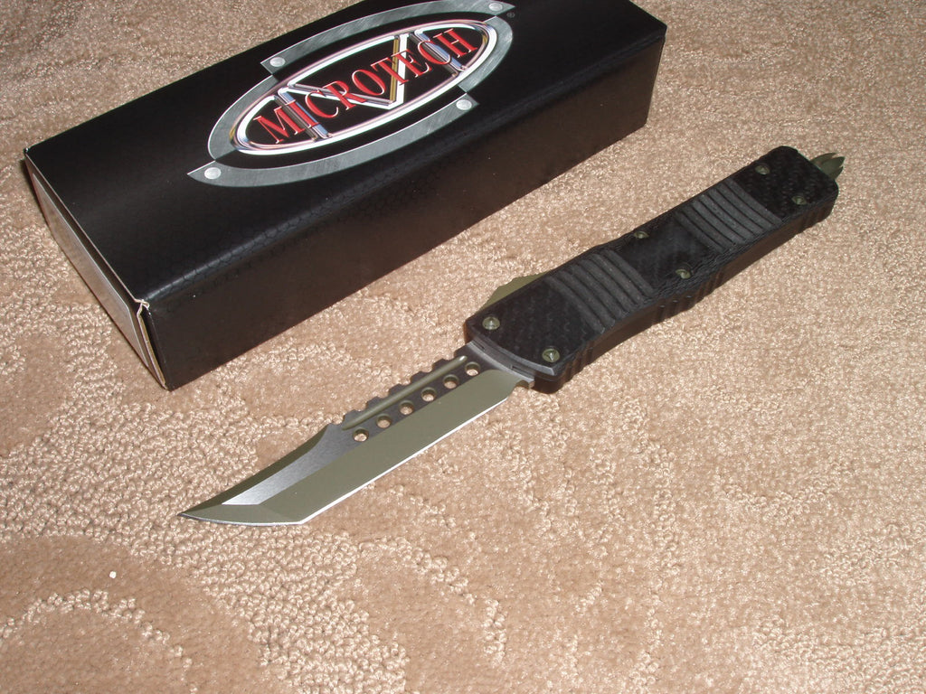 Microtech Combat Troodon  Hell Hound, Carbon Fiber, Green Blade, OTF Knife.  219-1GRBCF