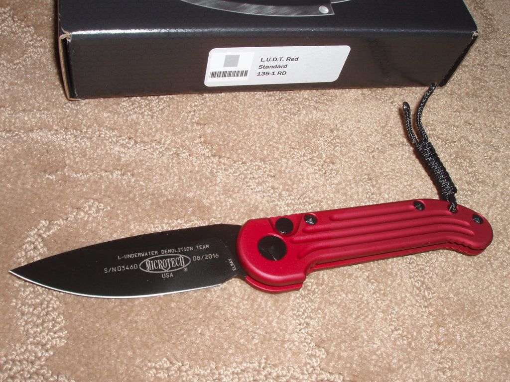 Microtech Knives  LUDT, Red Handle, Black, Standard Blade, Automatic Knife  135-1RD