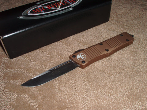 Microtech Troodon  S/E, Black Blade, Tan Handle, OTF Knife 139-1TA