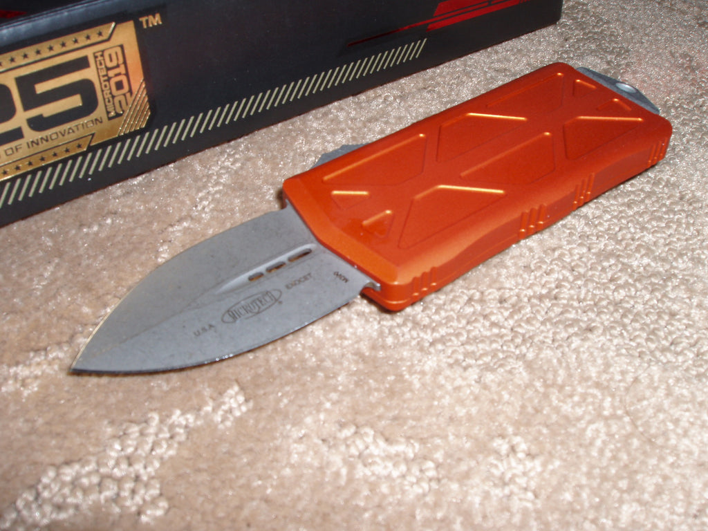 Microtech Exocet, Money Clip, Apocalyptic Finish Blade, Orange Handle, OTF Knife 157-10APOR
