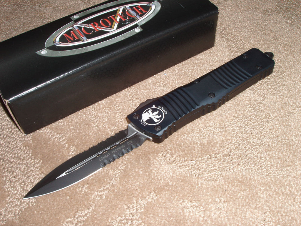 Microtech Combat Troodon  D/E, Tactical, Part Serrated, OTF Knife   142-2T