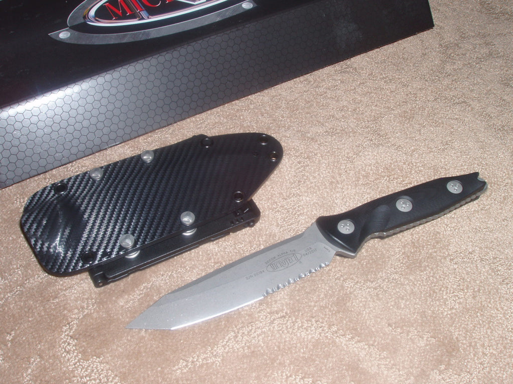 Microtech Knives Socom Alpha, Part Serrated TANTO, Apocalyptic, Fixed Blade Knife    114-11AP