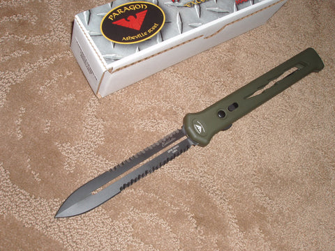 Paragon Knives / Asheville Steel - Estilleto, Devils Tongue, OD Green Lightning Bolt Handle, Black Blade, P/Serrated, Double Edge, OTF Knife    PARA-EST-S-LB-ODG-2X
