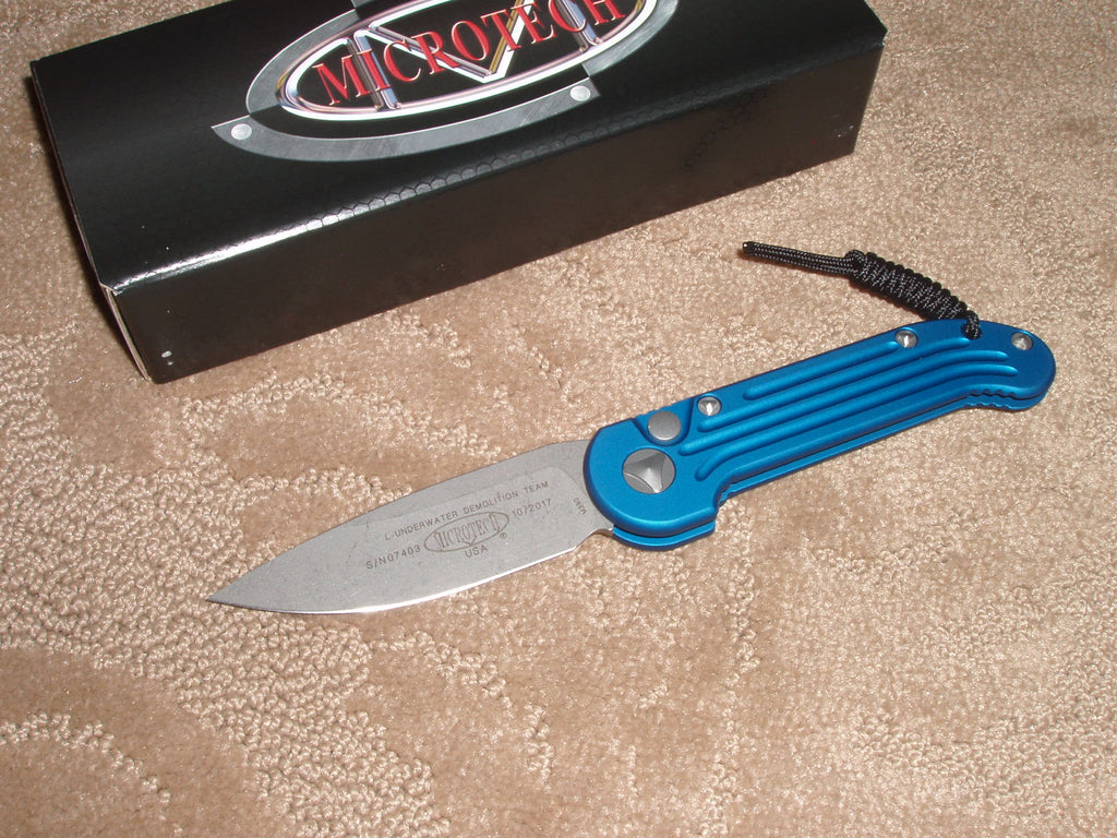 Microtech Knives  LUDT, Blue Handle, Standard Blade, Automatic Knife  135-10APBL