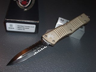 Microtech Combat Troodon  D/E, Black, Part/Serrated, Tan Handle, OTF Knife   142-2TA