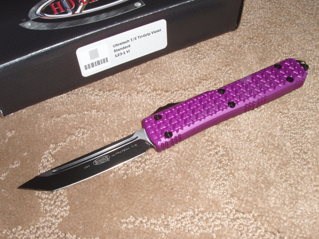 Microtech Ultratech ll   Tanto Edge, Black, Standard Blade, Violet Handle, OTF Knife  123-1VI