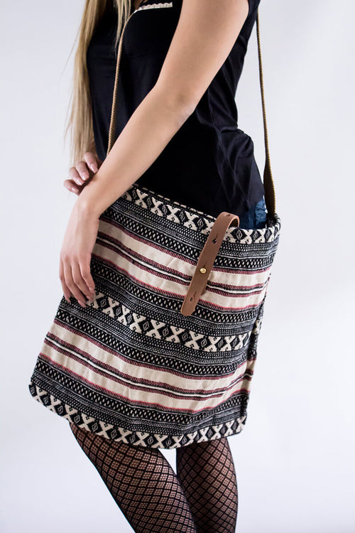 Crossed Connection Tapestry Tote