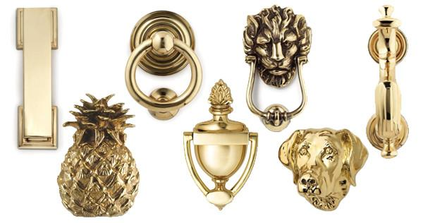 Jefferson Brass Company door knockers. Brass door knockers