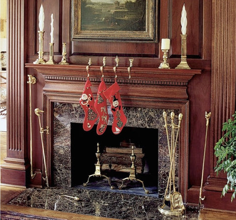Brass Fire Tools - Christmas Mantel