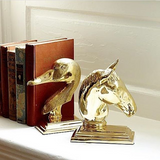 Brass Goose Bookend and Brass Horse Head Bookend