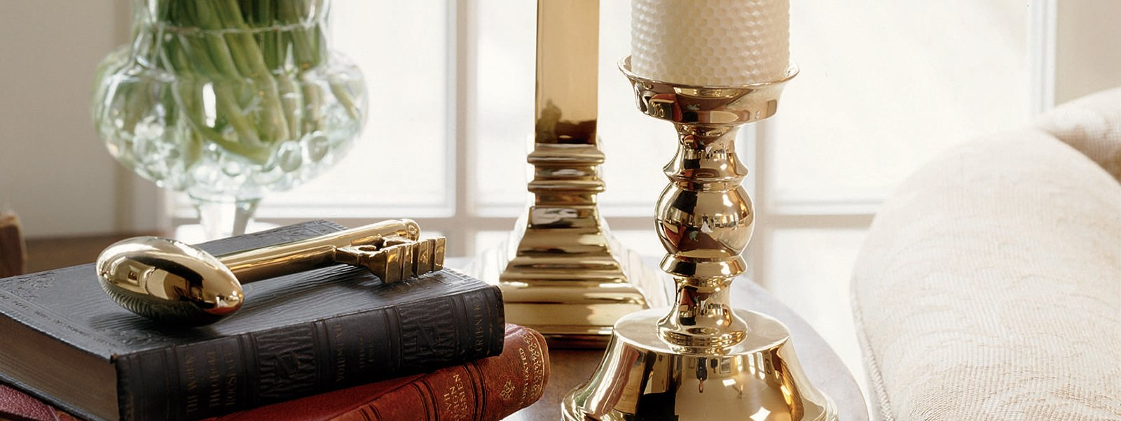 Jefferson Brass Candlesticks. Interior Design Jefferson Brass Company. Traditional, classic interior design. Brass design and home decor