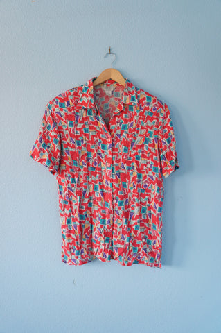 Coral Patterned 90s Button-Up - Mens M