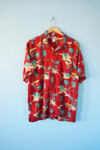 Red Tropical Hawaiian Shirt - Mens L