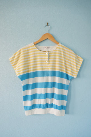 Striped Blue and Gold Blouse - M