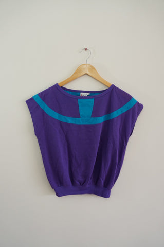 Purple and Blue Cap Sleeved Blouse - S