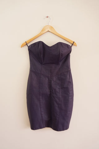 Purple Leather Sleeveless Dress - S