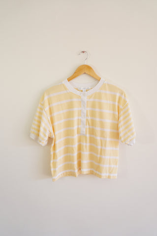 Pastel Yellow Striped Crop Top - M