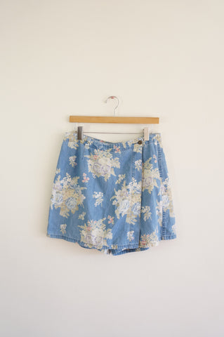 Floral Denim Skort - XL