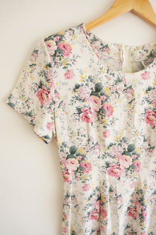 White Floral Short Sleeve Dress - S