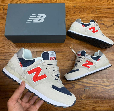 NEW BALANCE GREY BLUE BRIGHT RED