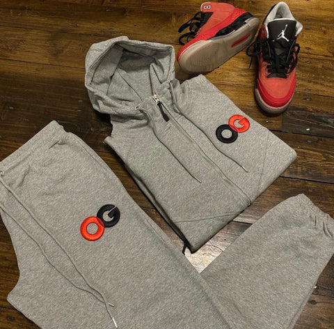 OG SWEATSUIT GREY RED BLACK