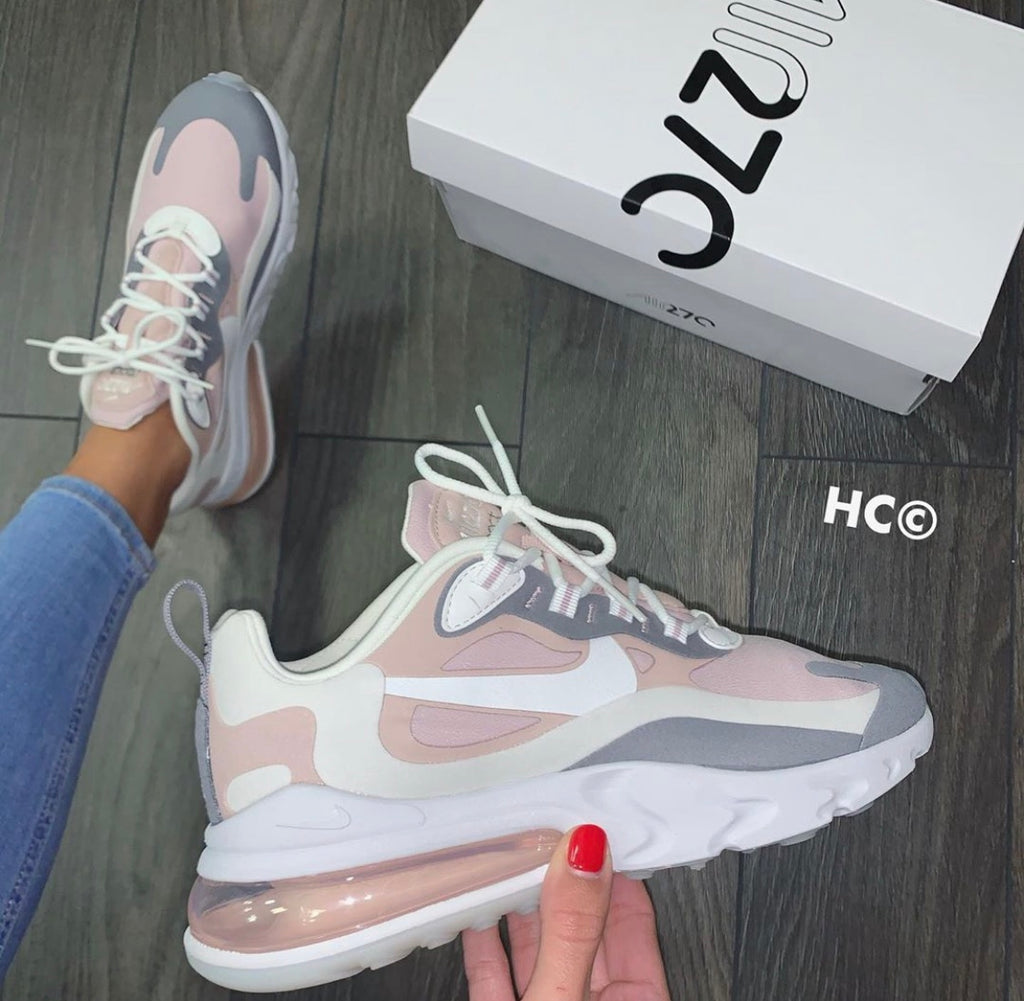pink and grey sneakers