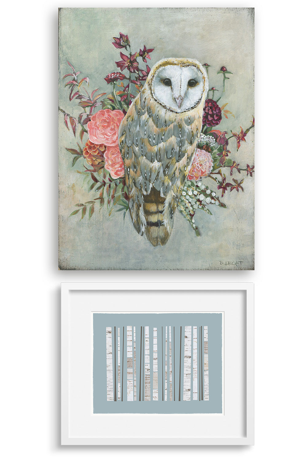 An art pairing of prints Grove by Janet Taylor Household Art and Barn Owl by Bonnie Lecat.