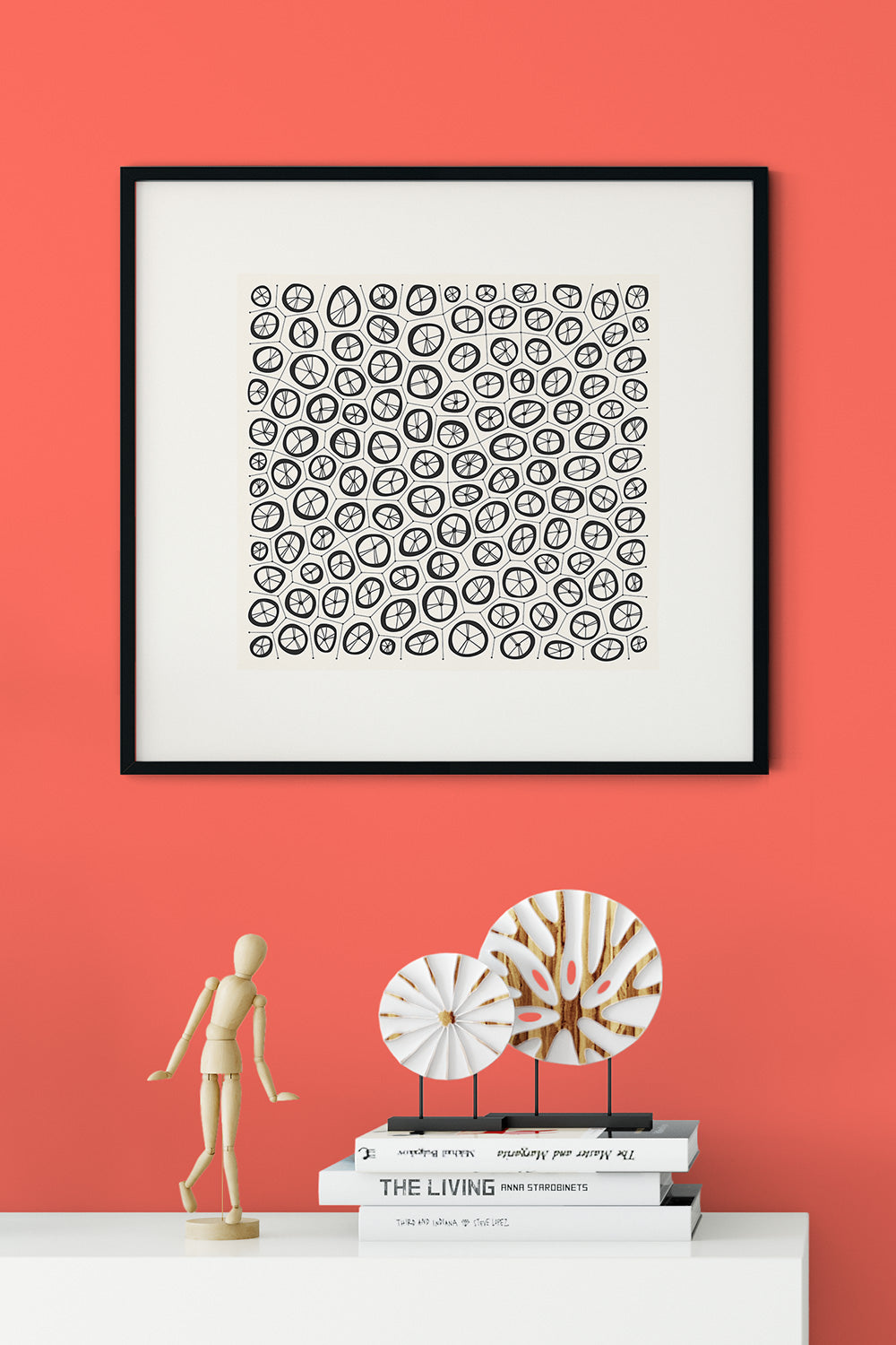 Coral Graphic Print by Household Art | Janet Taylor hung on a wall painted in Pantone Color of the Year Living Coral.