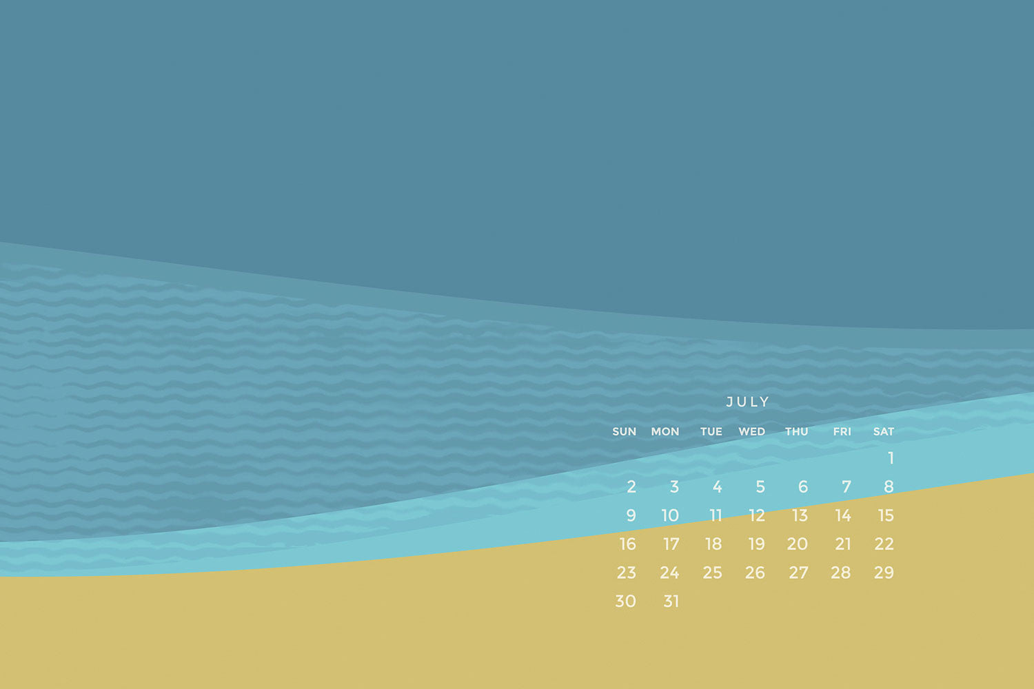 July Calendar Download: Water, Water