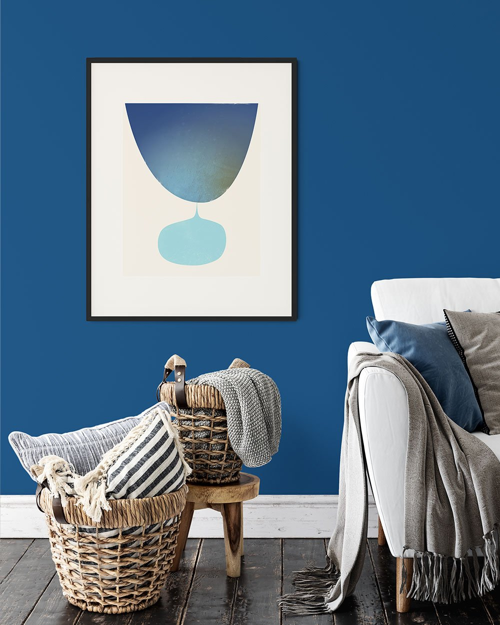 Flow Print by Janet Taylor on a Pantone Classic Blue Wall