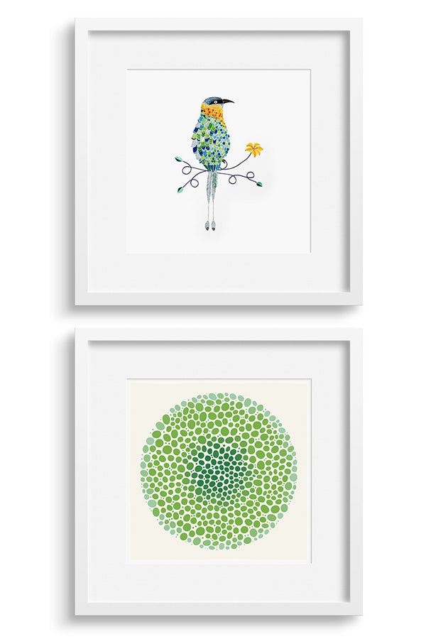 Art pair featuring prints by Ana Matamoros and Bloom print by Janet Taylor