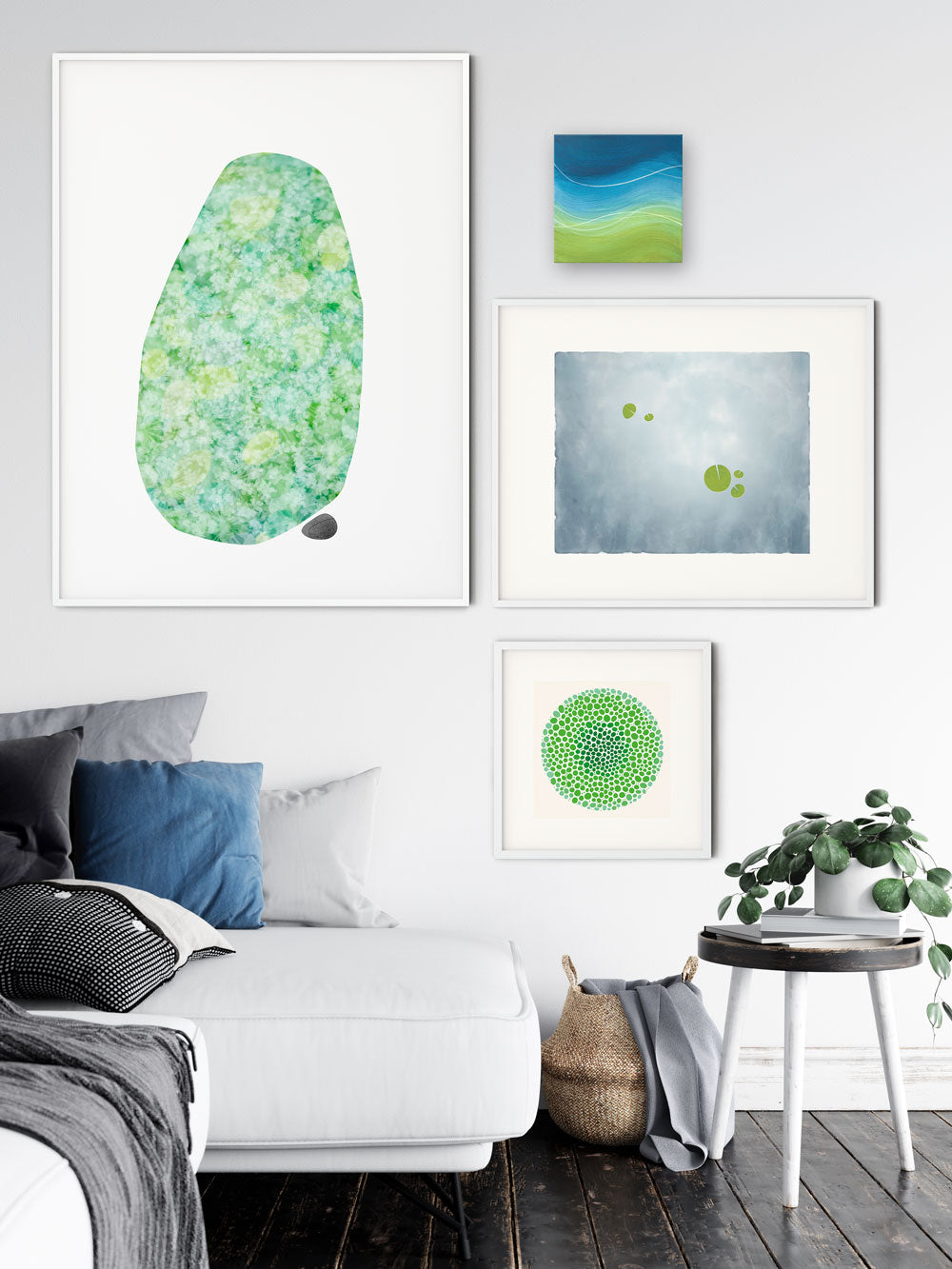 A room with selections from the green collection.