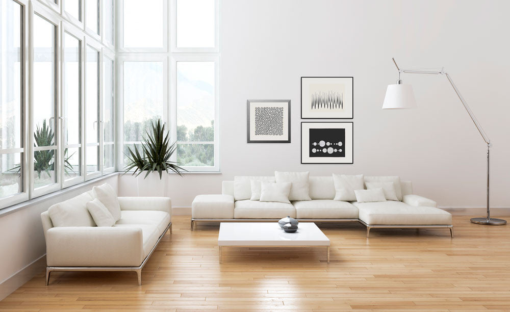 This gallery of graphic monochrome images looks wonderful in a modern apartment.
