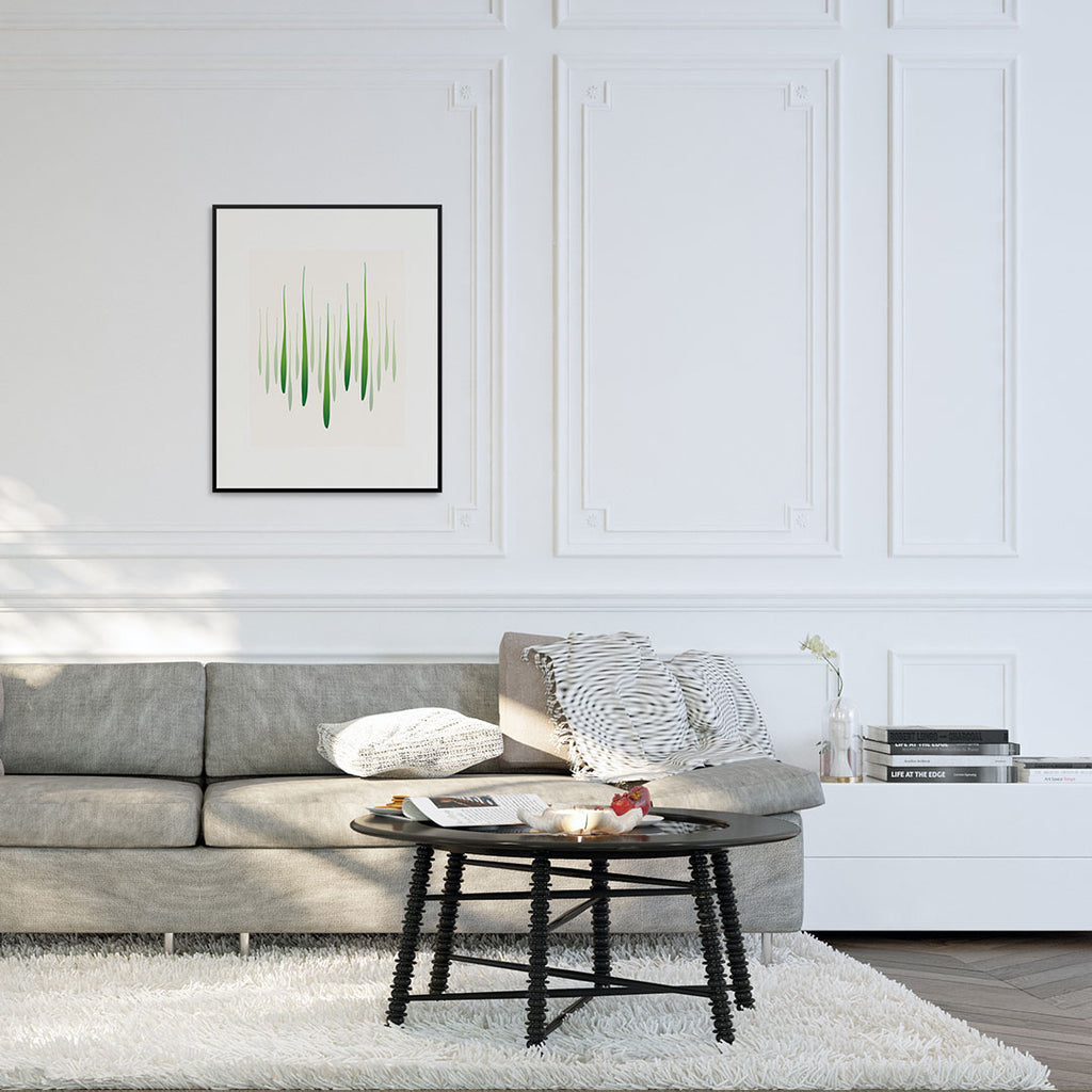 Modern living room with Reed Rise fine art print.