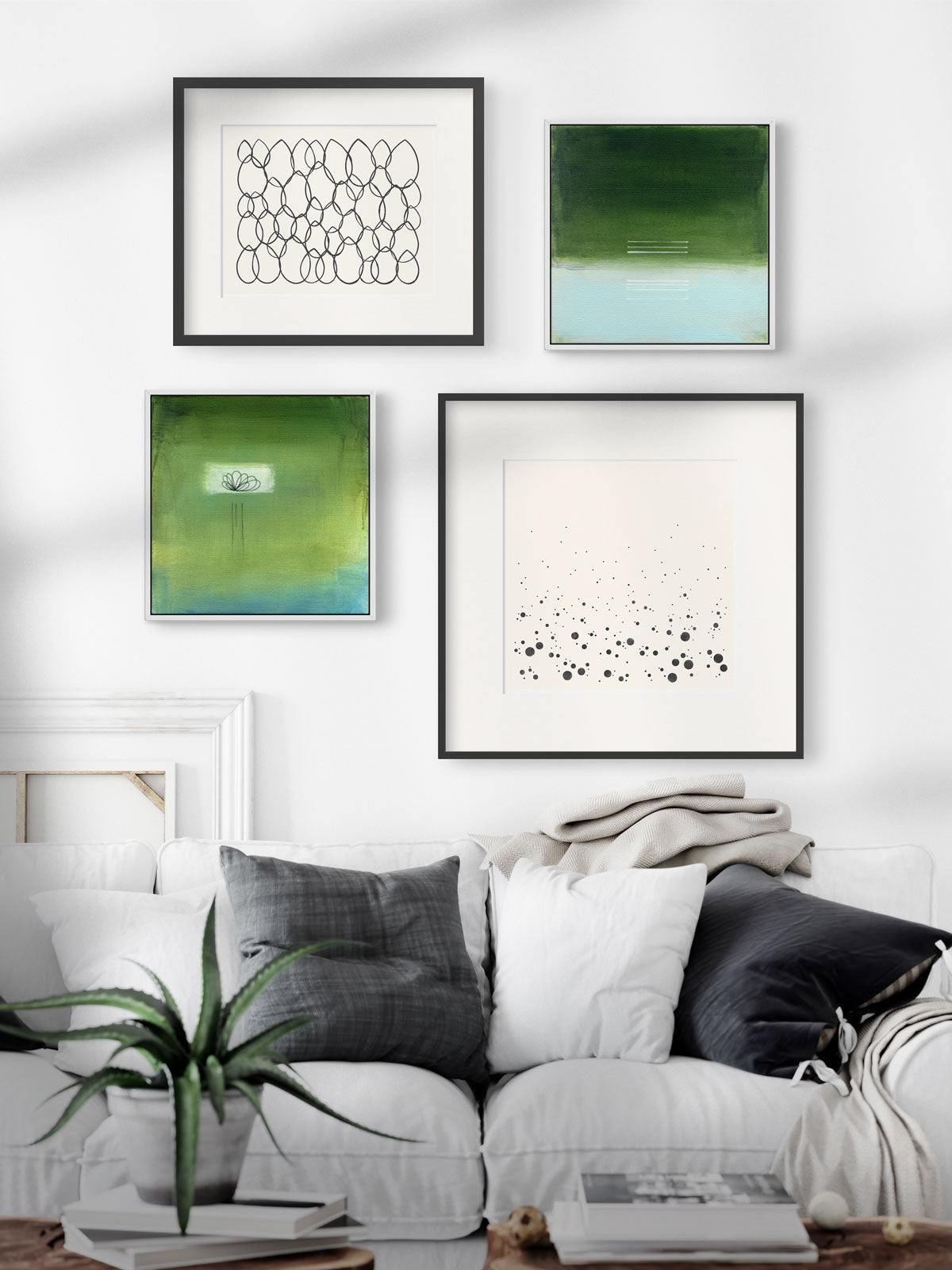 Gallery Wall of Prints and Paintings by Janet Taylor