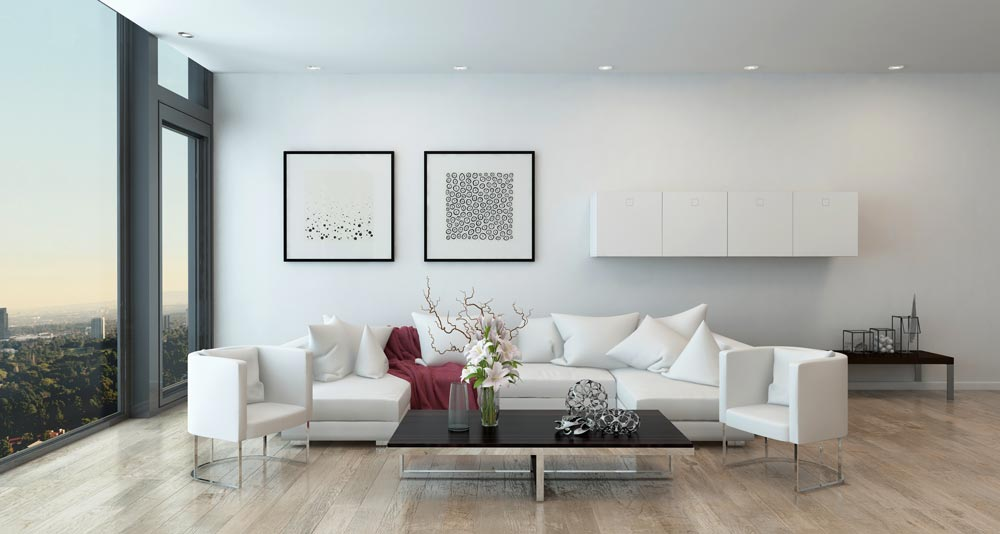 The 'Coral Graphic' and 'Spray Graphic' fine art prints make a great pair on a living room wall.