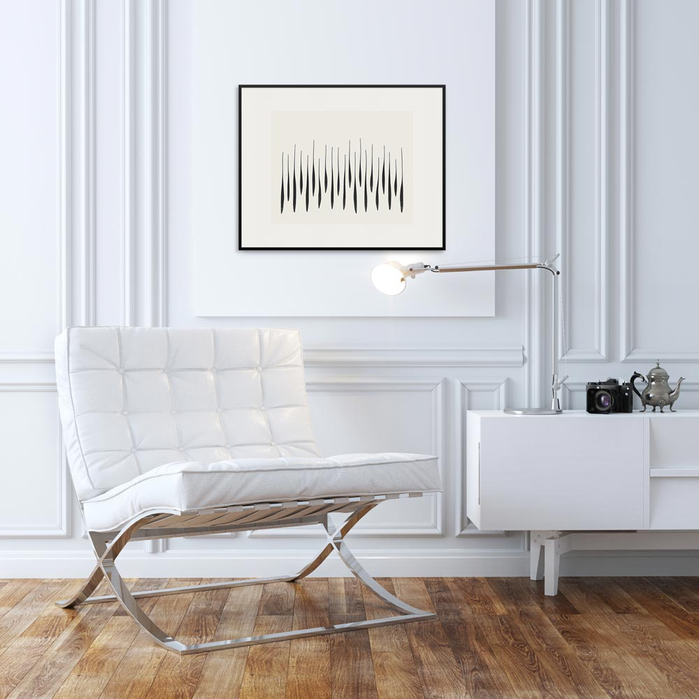 White chair with 'Thicket' fine art print.