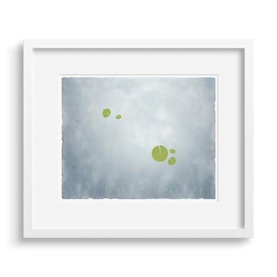 "White-framed version of ""Apart"", an image of water lilies. Limited Edition Archival Print, by Janet Taylor 