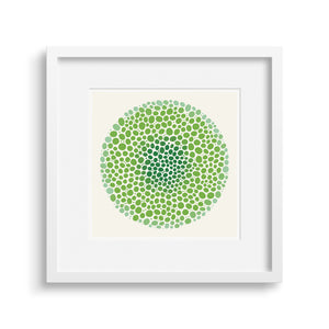 White framed version of a vibrant graphic fine art print in shades of green.