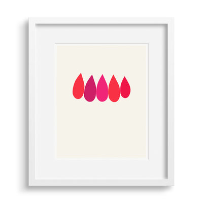 White framed version of a fine art print of a stylized red and pink burning bush bough by Janet Taylor | Household Art.