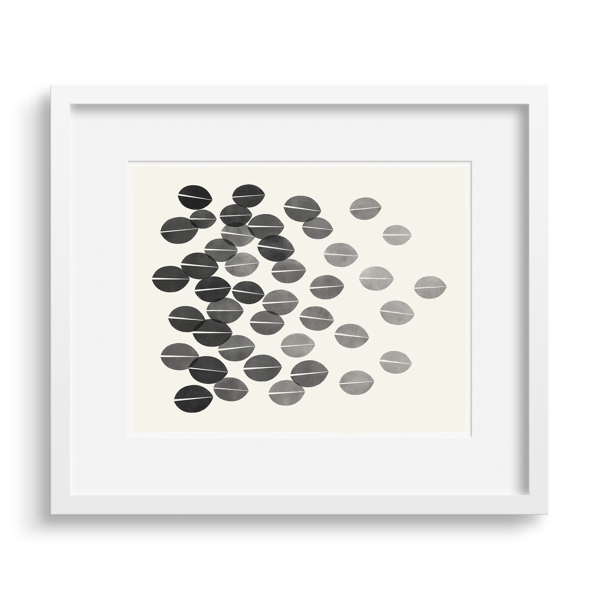 White framed version of a monochrome print with a graphic interpretation of dried leaves by Janet Taylor | Household Art.