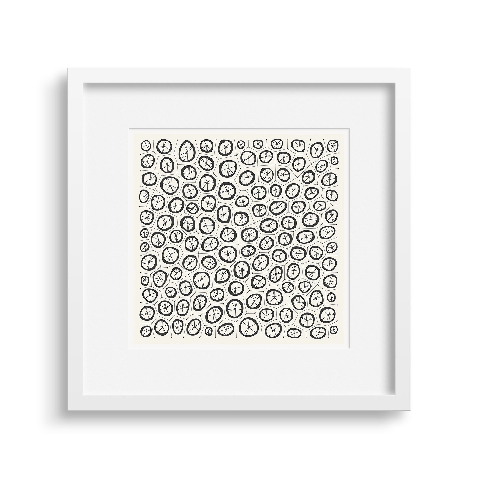White framed version of Coral Graphic Fine Art Print by Janet Taylor | Household Art.