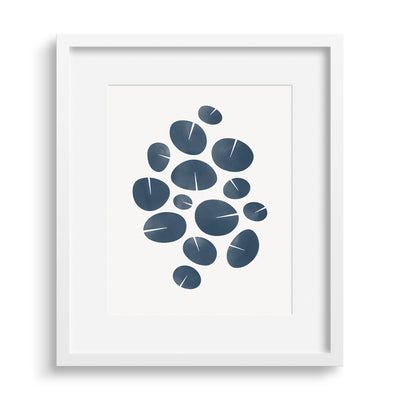 White framed version of deep blue contemporary graphic print based on water lilies. Limited Edition Archival print by Janet Taylor | Household Art.