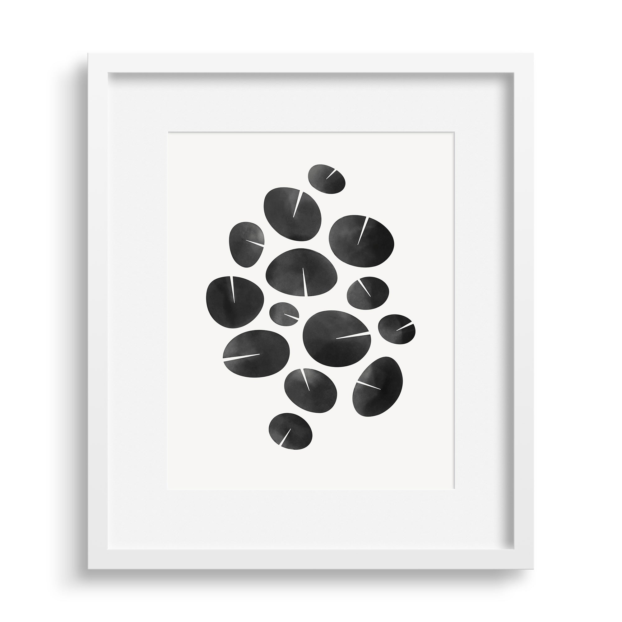 "White framed version of modern fine art print based on water lilies, ""Dance Graphic"". Limited edition archival print by Janet Taylor 