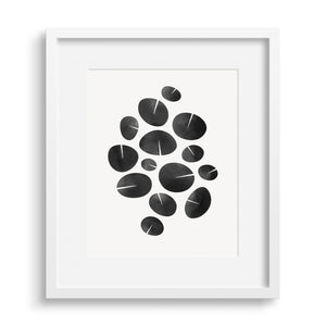 "White framed version of modern fine art print based on water lilies, ""Dance Graphic"". Limited Edition Archival."