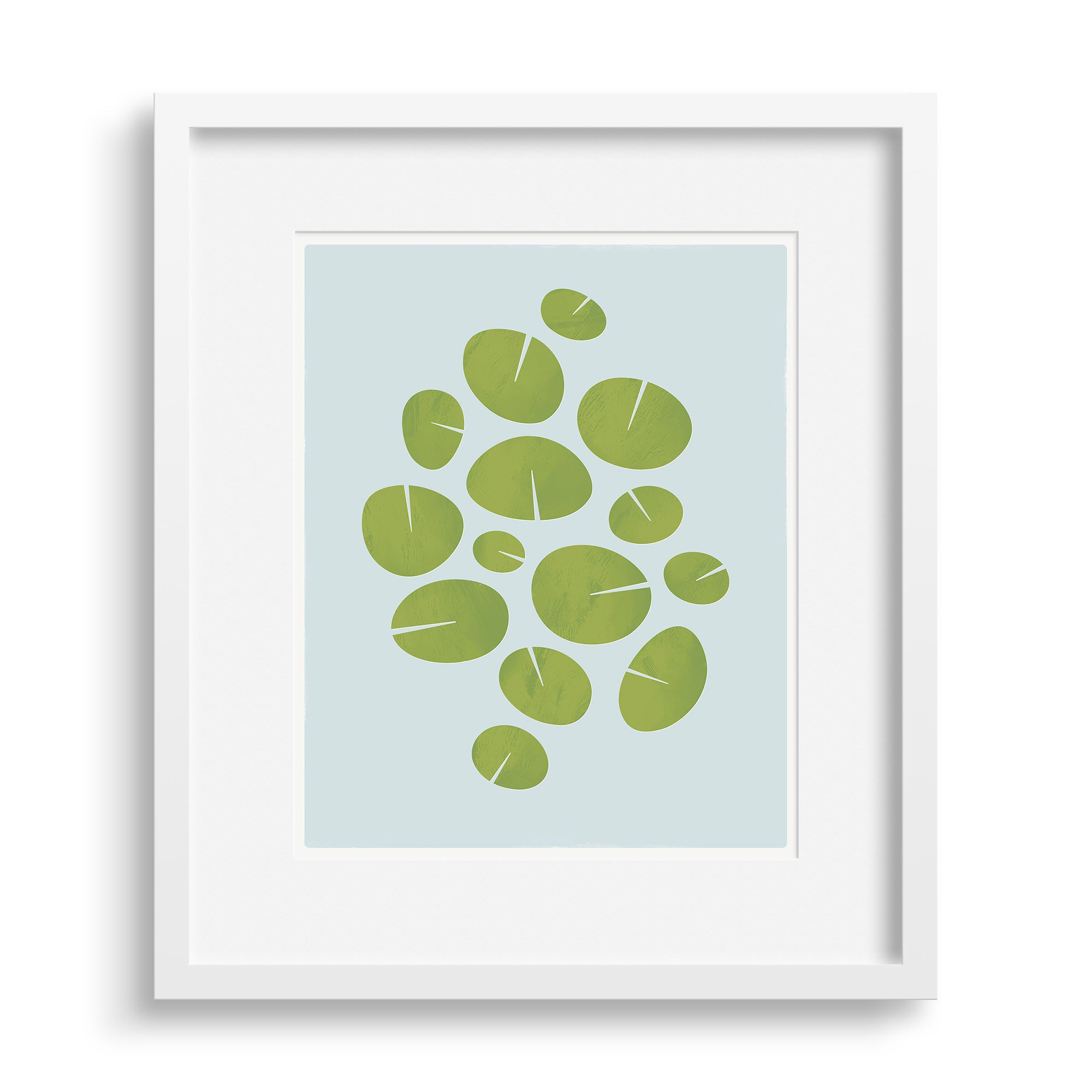 "White framed version of modern graphic print of waterlilies ""Dance"". Limited Edition Archival print by Janet Taylor 