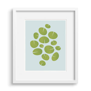 "White framed version of modern graphic print of waterlilies ""Dance"". Limited Edition Archival."